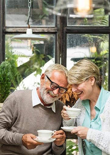 older couple enjoying tea
