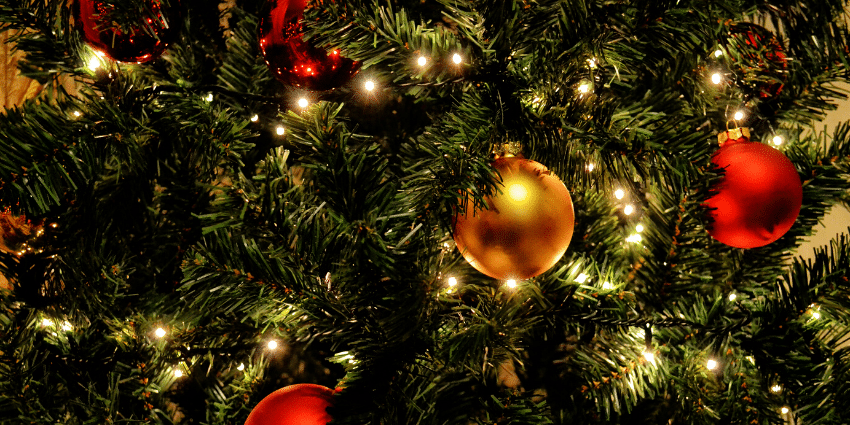 Closeup of Christmas tree baubles